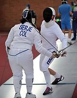 BOGOTA – COLOMBIA – 25 – 05 – 2017: Rossella Fiamingo (Der.) de Italia y Serge (Izq.) de Colombia, durante entreno del Gran Prix de Espada Bogota 2017, que se realiza en el Centro de Alto Rendimiento en Altura, del 26 al 28 de mayo del presente año en la ciudad de Bogota.  / Rossella Fiamingo (R) from Italy and Serge (L) de Colombia, during training of the Grand Prix of Espada Bogota 2017, that takes place in the Center of High Performance in Height, from the 26 to the 28 of May of the present year in The city of Bogota. / Photo: VizzorImage / Luis Ramirez / Staff.