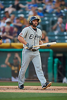 Shane Peterson (18) of the El Paso Chihuahuas bats against the Salt Lake Bees at Smith's Ballpark on August 13, 2018 in Salt Lake City, Utah. Salt Lake defeated El Paso 4-3. (Stephen Smith/Four Seam Images)