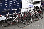 Lotto Belisol Team's Ridley bikes lined up outside the team bus before the start of the 98th edition of Liege-Bastogne-Liege outside the Palais des Princes-Eveques, running 257.5km from Liege to Ans, Belgium. 22nd April 2012.  <br /> (Photo by Eoin Clarke/NEWSFILE).