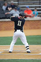 Jonathan Pryor (11) of the Wake Forest Demon Deacons at bat against the Miami Hurricanes at Wake Forest Baseball Park on March 22, 2015 in Winston-Salem, North Carolina.  The Demon Deacons defeated the Hurricanes 10-4.  (Brian Westerholt/Four Seam Images)