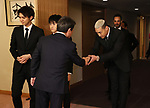 """March 4, 2020, Tokyo, Japan - Members of Japanese pop group """"GENERATIONS from EXILE TRIBE"""" are greeted by Japanese Foreign Minister Toshimitsu Motegi (L) as Generations members are named to Japan-United Arab Emirates (UAE) goodwill ambassador by Japanese foreign ministry at Motegi's office in Tokyo on Wednesday, March 4, 2020.   (Photo by Yoshio Tsunoda/AFLO)"""