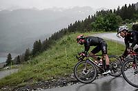 Thomas De Gendt (BEL/Lotto Soudal) descending the Col du Pré (HC/1748m) towards the Barrage de Roselend in, yet again, grim conditions.<br /> <br /> Stage 9 from Cluses to Tignes (145km)<br /> 108th Tour de France 2021 (2.UWT)<br /> <br /> ©kramon