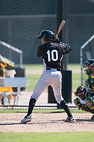 Chicago White Sox infielder Kelvin Maldonado (10) at bat during an Instructional League game against the Oakland Athletics at Lew Wolff Training Complex on October 5, 2018 in Mesa, Arizona. (Zachary Lucy/Four Seam Images)