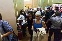 17/08/2012, Moscow, Russia..Journalists exit the courtroom as Maria Alyokhina, Yekaterina Samutsevich and Nadezhda Tolokonnikova of punk band Pussy Riot are sentenced to two years in prison for their performance in the Christ The Saviour Cathedral.
