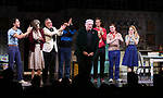 """Michael Hsu Rosen, Mercedes Ruehl, Moises Kaufman, Michael Urie, Harvey Fierstein, Ward Horton, Jack DiFalco and Roxanna Hope Radja  during the Broadway Opening Night Curtain Call for """"Torch Song"""" at the Hayes Theater on November 1, 2018 in New York City."""