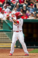 Xavier Scruggs (15) of the Springfield Cardinals at bat during a game against the Arkansas Travelers at Hammons Field on May 8, 2012 in Springfield, Missouri. (David Welker/ Four Seam Images).