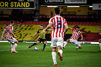 4th November 2020; Vicarage Road, Watford, Hertfordshire, England; English Football League Championship Football, Watford versus Stoke City; Tom Cleverly shoots past the Stoke defenders and equalises for Watford in the 28th minute.