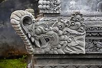 Jatiluwih, Bali, Indonesia.  Temple Decoration, Stone Carving, Luhur Bhujangga Waisnawa Hindu Temple.