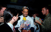 New York Yankees Manager Joe Torre is interviewed by the media after winning the 1998 World Series against the San Diego Padres at Qualcomm Stadium in San Diego, California. (Larry Goren/Four Seam Images)