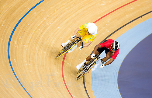 06 AUG 2012 - LONDON, GBR - Njisane Nicholas Phillip (TRI) (right) of Trinidad and Tobago leads Shane Perkins (AUS) (left) of Australia during their Individual Sprint bronze medal deciding first race at the London 2012 Olympic Games track cycling at the Olympic Park Velodrome in Stratford, London, Great Britain .(PHOTO (C) 2012 NIGEL FARROW)
