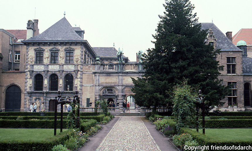 Antwerp: The Rubens House (Peter Paul Rubens)--looking toward house and studio (left) from garden pavilion.  Photo '87.
