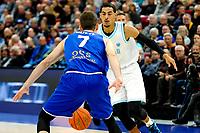 GRONINGEN - FIBA Basketbal-bubbel. Donar - Allianz Swans Gmunden seizoen 2021-2022, 29-09-2021,  Donar speler Marquis Addison met Gmunden speler Benedikt Guettl