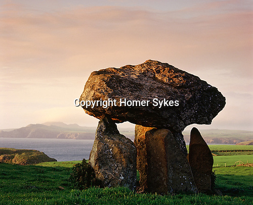 Carreg Samson. Nr Abercastle, Pembrokshire, Wales. A Neolithic cromlech at least 5,000 years old, its takes its name from a local Celtic Christian saint St Samson.<br /> Celtic Britain published by Orion.