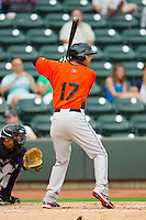 Brenden Webb (17) of the Frederick Keys at bat against the Winston-Salem Dash at BB&T Ballpark on July 21, 2013 in Winston-Salem, North Carolina.  The Dash defeated the Keys 3-2.  (Brian Westerholt/Four Seam Images)
