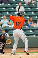 Brenden Webb (17) of the Frederick Keys at bat against the Winston-Salem Dash at BB&T Ballpark on July 21, 2013 in Winston-Salem, North Carolina.  The Dash defeated the Keys 3-2.  (Brian Westerholt/Four Seam Images)