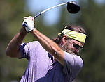 Willie Robertson, from Duck Dynasty, practices on the driving range before an American Century Championship practice round at Edgewood Tahoe Golf Course in Stateline, Nev., on Wednesday, July 15, 2015. <br /> Photo by Cathleen Allison