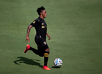 LOS ANGELES, CA - AUGUST 22: Latif Blessing #7 of the LAFC moves with the ball during a game between Los Angeles Galaxy and Los Angeles FC at Banc of California Stadium on August 22, 2020 in Los Angeles, California.