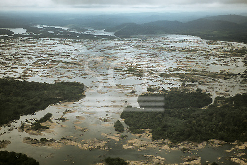 Xingu River, Brazil. Aerial view of rocky rapids.