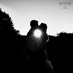 Newlwed's sunset,silohette,kiss on the beautifulgrounds of Abigrail Kirsch at Tappan Hill Mansion