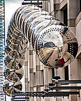 22 September 2018: A visual sculpture of Mirrored Baseballs can be seen outside on the exterior of the parking garage at Nationals Park prior to a game between the Washington Nationals and the New York Mets at Nationals Park in Washington, DC. The Nationals shut out the Mets 6-0 in the 3rd game of their 4-game series. Mandatory Credit: Ed Wolfstein Photo *** RAW (NEF) Image File Available ***