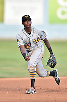 West Virginia Power third baseman Ke'Bryan Hayes (22) reacts to the play during a game against the Asheville Tourists at McCormick Field on June 23, 2016 in , North Carolina. The Tourists defeated the Power 3-2. (Tony Farlow/Four Seam Images)