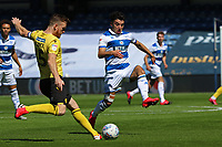 Alex Pearce of Millwall pressured by Ilias Chair of Queens Park Rangers during Queens Park Rangers vs Millwall, Sky Bet EFL Championship Football at Loftus Road Stadium on 18th July 2020