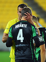 Wellington's Steven Taylor consoles Western United's Andrew Durante after the A-League football match between Wellington Phoenix and Western United FC at Sky Stadium in Wellington, New Zealand on Saturday, 22 May 2021. Photo: Dave Lintott / lintottphoto.co.nz