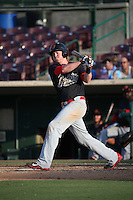 Marty Herum (26) of the Visalia Rawhide bats against the Inland Empire 66ers at San Manuel Stadium on June 26, 2016 in San Bernardino, California. Inland Empire defeated Visalia, 5-1. (Larry Goren/Four Seam Images)