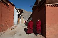 Tibetan monks at Labrang monastery (Chinese Name - Xiahe) on the Qinghai-Tibetan Plateau. China