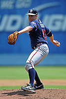 Rome Braves starting pitcher Jason Hursh #45 delivers a pitch during a game against the Asheville Tourists at McCormick Field on July 28, 2013 in Asheville, North Carolina. The Braves won the game 9-3. (Tony Farlow/Four Seam Images)