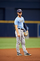 Tyler Frank (3) during the Tampa Bay Rays Instructional League Intrasquad World Series game on October 3, 2018 at the Tropicana Field in St. Petersburg, Florida.  (Mike Janes/Four Seam Images)