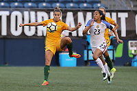 Seattle, WA - Thursday July 27, 2017: Steph Catley and Christen Press during a 2017 Tournament of Nations match between the women's national teams of the United States (USA) and Australia (AUS) at CenturyLink Field.