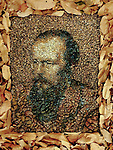 Pictured: Fyodor Dostoevsky, the Russian Novelist in the Forest, Chiang Mai.  <br /> <br /> A British artist stuck in Thailand has spent his time constructing masterpieces from pebbles for locals to enjoy.  Justin Bateman had only planned on staying in Chiang Mai for a week - but has remained there now for nearly ten months after the pandemic struck. <br /> <br /> His pebble portraits include The Queen, Spanish painter Pablo Picasso, Michelangelo's David and a local farmer - who was bemused by his portrait.   Mr Bateman, from Portsmouth, Hants, was staying in Bali when he travelled to Chiang Mai, in Thailand, to visit some friends.   SEE OUR COPY FOR DETAILS.<br /> <br /> Please byline: Justin Bateman/Solent News<br /> <br /> © Justin Bateman/Solent News & Photo Agency<br /> UK +44 (0) 2380 458800