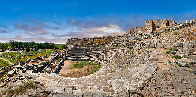Greek Theatre remodelled in 225-200 BC & again in 175 BC, 68 AD & 299 AD to a width of 139.8 meters to seat 18,500 people. <br /> Miletus Archaeological Site, Anatolia, Turkey.