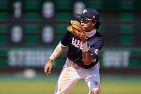 Second baseman Marcelo Mayer (10) waits for at throw during the Baseball Factory All-Star Classic at Dr. Pepper Ballpark on October 4, 2020 in Frisco, Texas.  Marcelo Mayer (10), a resident of Chula Vista, California, attends Eastlake High School.  (Ken Murphy/Four Seam Images)