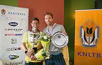 August 24, 2014, Netherlands, Amstelveen, De Kegel, National Veterans Championships, Final men 40+ , Winner Jeroen Bok and runner up Bas Snelders (R)<br /> Photo: Tennisimages/Henk Koster