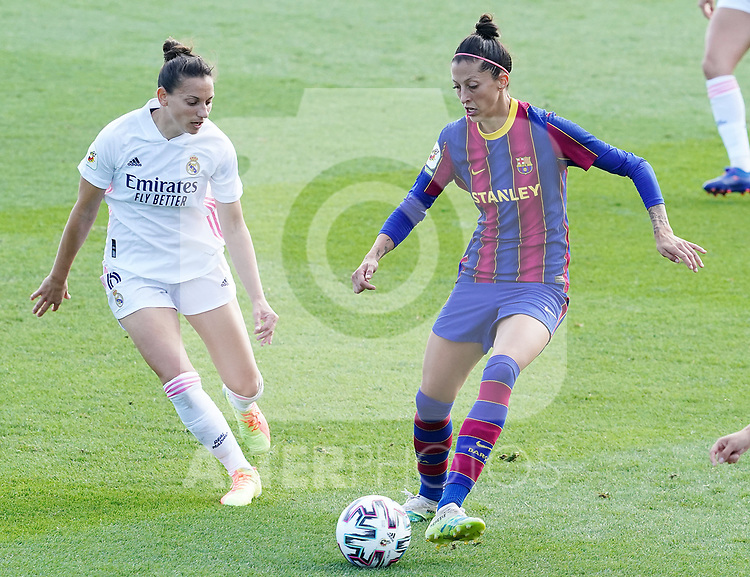 First official match and first classic in the history of women's Real Madrid.<br /> Real Madrid's Aurelie Kaci (l) and FC Barcelona's Jennifer Hermoso during Spanish Female League match. October 4,2020. (ALTERPHOTOS/Acero)