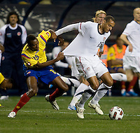 Jermaine Jones (15) of the USMNT tries to sprint away from Jhon Viafara (15) of Colombia during an international friendly at PPL Park in Chester, PA.  The U.S. tied Columbia, 0-0.