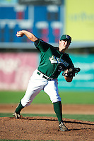 Jamestown Jammers pitcher Sean Donatello #34 during the first game of a double header against the Hudson Valley Renegades at Russell Diethrick Park on August 6, 2012 in Jamestown, New York.  Hudson Valley defeated Jamestown 4-2.  (Mike Janes/Four Seam Images)
