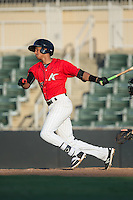 Johan Cruz (20) of the Kannapolis Intimidators follows through on his swing against the Greensboro Grasshoppers at Intimidators Stadium on July 17, 2016 in Greensboro, North Carolina.  The Grasshoppers defeated the Intimidators 5-4 in game two of a double-header.  (Brian Westerholt/Four Seam Images)
