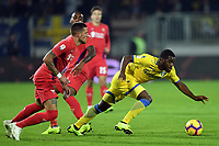 Cristiano Biraghi, Gerson of Fiorentina and Joel Campbell of Frosinone compete for the ball during the Serie A 2018/2019 football match between Frosinone and ACF Fiorentina at stadio Benito Stirpe, Frosinone, November 09, 2018 <br />  Foto Andrea Staccioli / Insidefoto