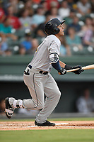 Designated hitter Carlos Vidal (2) of the Charleston RiverDogs bats in a game against the Greenville Drive on Friday, July 28, 2017, at Fluor Field at the West End in Greenville, South Carolina. Charleston won, 6-1. (Tom Priddy/Four Seam Images)