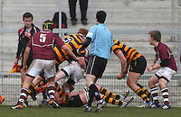 CAI vs RBAI | Tuesday 3rd March 2015<br /> <br /> John Dickson tackles Peter Bonnar during the 2015 Ulster Schools Cup Semi-Final between Coleraine Inst and RBAI at the Kingspan Stadium, Ravenhill Park, Belfast, Northern Ireland.<br /> <br /> Picture credit: John Dickson / DICKSONDIGITAL