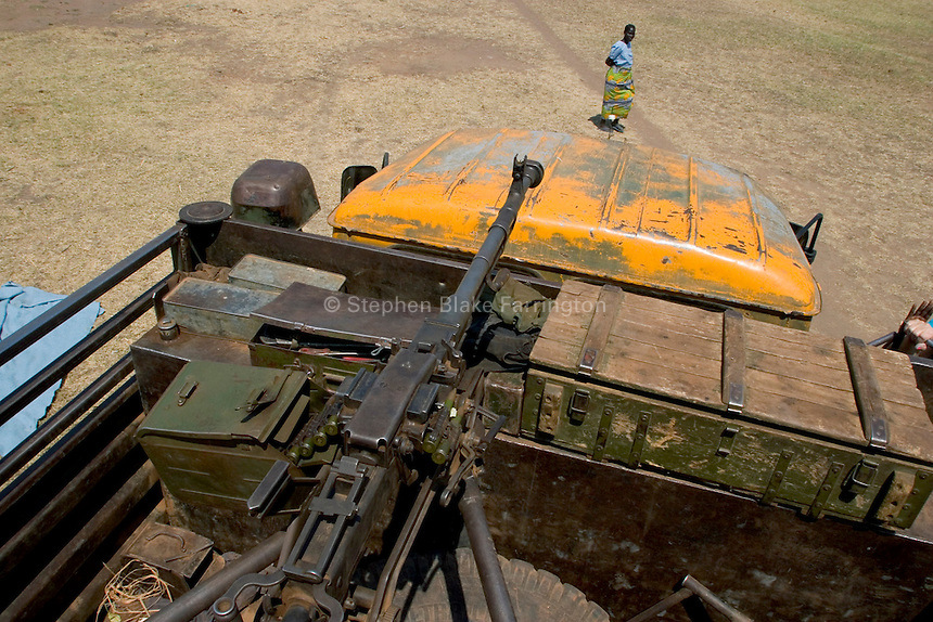 Africa, Sudan, Magwi County, Nimule, South Sudan - A Sudanese Peoples Liberation Army (SPLA) truck delivering goods to an orphanage in Nimule. The orphange is located directly on the border with Uganda and in the heart of terrain susceptible to the rebel group the Lord's Resistance Army. December 2005 © Stephen Blake Farrington