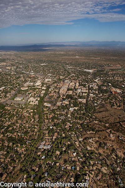 aerial photograph of central Santa Fe, New Mexico