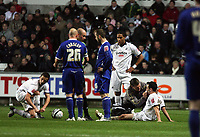 Pictured: Leon Britton (right) of Swansea City <br /> Re: Coca Cola Championship, Swansea City Football Club v Birmingham City at the Liberty Stadium, Swansea, south Wales Friday 21 November 2008.<br /> Picture by D Legakis Photography (Athena Picture Agency), Swansea, 07815441513