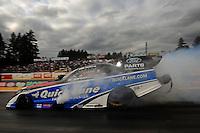 Aug. 5, 2011; Kent, WA, USA; NHRA funny car driver Bob Tasca III during qualifying for the Northwest Nationals at Pacific Raceways. Mandatory Credit: Mark J. Rebilas-