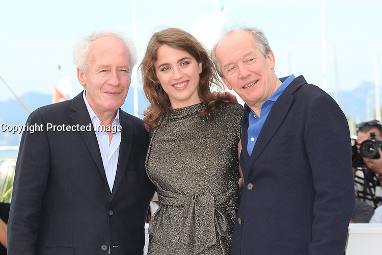 DIRECTOR JEAN-PIERRE DARDENNE, ADELE HAENEL AND DIRECTOR LUC DARDENNE - PHOTOCALL OF THE FILM 'LA FILLE INCONNUE' AT THE 69TH FESTIVAL OF CANNES 2016 , 19/05/2016.
