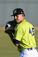 Starting pitcher Jose Butto (45) of the Columbia Fireflies pitched 5.2 scoreless innings in a 1-0 loss against the Delmarva Shorebirds on Thursday, May 2, 2019, at Segra Park in Columbia, South Carolina. (Tom Priddy/Four Seam Images)