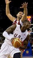 US Men's Basketball team guard (10) Kobe Bryant drives past Turkish guard (7) Omer Onan at the Cotai Arena in the Venetian Macau Hotel & Resort.  The US defeated Turkey, 114-82.